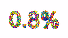 Point eight percent made from colorful balls Stock Footage