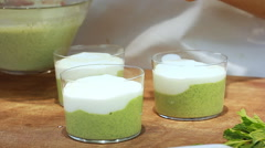 Cold Cucumber Soup with Yogurt and Dill Recipe plating and serving Stock Footage