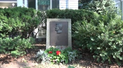 Plaque outside the John Fitzgerald Kennedy National Historic Site, Boston, MA. Stock Footage