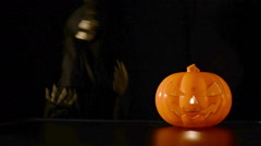 Dancing skeleton and a pumpkin. Stock Footage