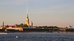 View of the Peter and Paul Fortress of St. Petersburg Stock Footage