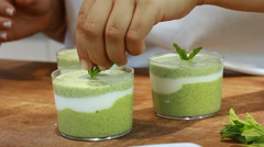 Yogurt soup mint plating and Serving in colors cucumber  Stock Footage