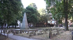 General view across the Granary Burying Ground, Boston, MA. Stock Footage