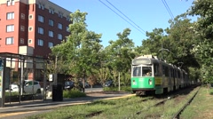 A Green Line (line C) MBTA electric tram in Boston, MA. Stock Footage