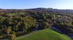 Aerial view of a beautiful nature reserve in Dudley, West Midlands. Stock Footage