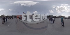 The I Amsterdam monument near the Rijksmuseum 360 video VR Stock Footage