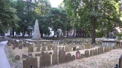 General view of the Granary Burying Ground, Boston, MA. Stock Footage