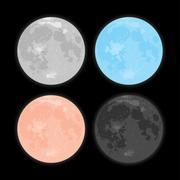 Starry night sky. Stars. Vector Moon. Set. Stock Illustration