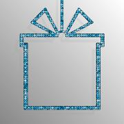 Frame Blue Sequins Gift Box. Gift. Surprise. Stock Illustration