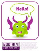Illustration of a monster saying hello Stock Illustration