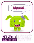 Illustration of a monster saying nyami Stock Illustration