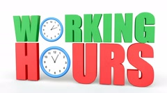 Working hours concept animation with clocks Stock Footage