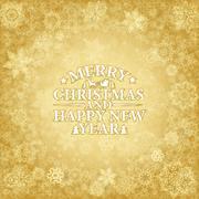 Merry Christmas card. Golden snowflakes on golden background Stock Illustration