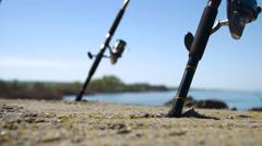 Fishing Poles, Rack Focus Stock Footage