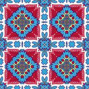 Gorgeous seamless patchwork pattern from Moroccan tiles, ornaments. Can be used Stock Illustration