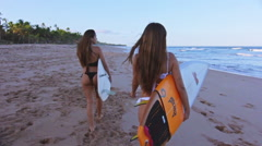 Following Two Surfers Girls Walking In The Shore Of A Paradisiac Beach Stock Footage