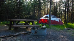 Camping With a Pitched Up Tent Stock Footage