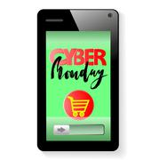Vector background of online shoping. Add to cart on mobile smartphone device Piirros