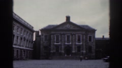1961: a large building with old fashioned architecture and vast esplanade DUBLIN Stock Footage