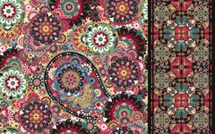 Set of colorful paisley seamless pattern and stripped. Vintage paisley Stock Illustration