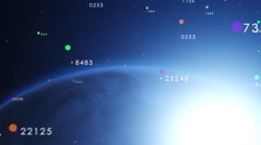 Blue shiny earth orbiting slowly with numbers around. Stock Footage