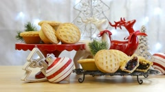 Festive Christmas food table with English style fruit mince pies Stock Footage