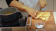 Cutting pita Ramadan recipes Fattet hummus is typically served as breakfast Stock Footage
