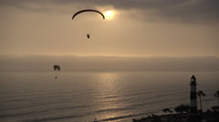 Lima Lighthouse Paragliders Stock Footage