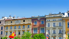 4K European Architecture Market Square, Tourist City, Holiday Travel Destination Stock Footage