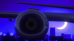 Birmingham United Kingdom Airplane Take Off Moon Night Blue Skyline Travel Stock Footage