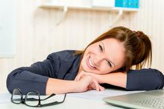Happy business woman Caucasian appearance at the office smiling Stock Photos