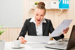 Strict auditor has detected an error in the accounting organization Stock Photos