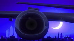 Berlin Germany Airplane Take Off Moon Night Blue Skyline Travel Stock Footage