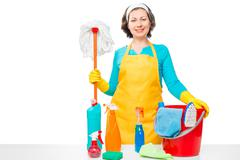 Beautiful housewife with tools for house cleaning posing on a white backgroun Stock Photos
