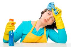 Portrait of tired of household chores housewife on a white background Stock Photos