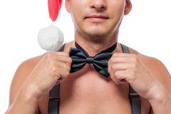 Butterfly tie on male stripper the neck close-up Stock Photos