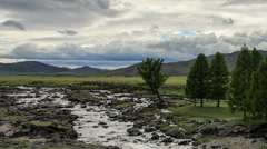 Clouds above the Ulaan river, Mongolia. Full HD Stock Footage