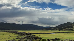 Clouds over the valley of the  Ulaan river, Mongolia. Full HD Stock Footage