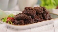 Rendang jerky beef stew Stock Footage