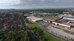Aerial view of a shopping centre and residential area in Dudley. Stock Footage