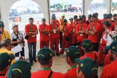 Instructing of participants before start Stock Photos