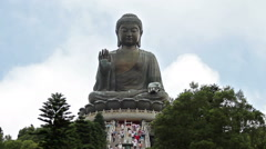 Bronze Buddha statue at the Po Lin Monastery, Hong Kong. Stock Footage