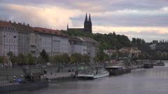 Vltava riverside in Prague on a cloudy evening. Stock Footage