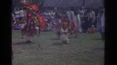 1971: a native american group doing a traditional dance for onlookers MIAMI Stock Footage