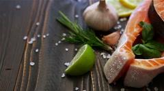 Fresh Raw Salmon Red Fish Steak Stock Footage