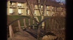 1971: view behind an area of apartment complex, quiet and undisturbed  Stock Footage