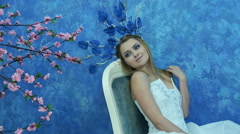 Beautiful young model in the form of Elvish princess Stock Footage