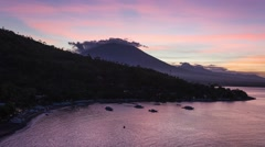 4K Day to Night Sunset Time-lapse of Agung volcano and Amed village Stock Footage