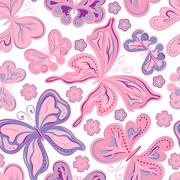 Seamless colorful butterfly pattern. Vector illustration Stock Illustration
