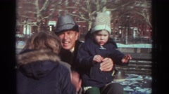 1971: man and two children talking and waving at the camera BEDFORD VIRGINIA Stock Footage